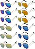 Aviator Gold Color Frame Sunglasses Mirrored Lens Blue, Blue-Green, Red, Yellow -12 Pairs OWL.