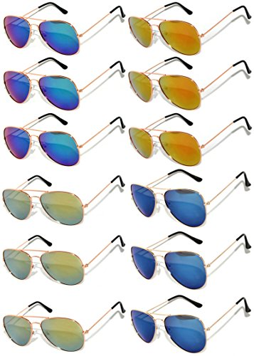 (Wholesale Aviator Gold Color Frame Sunglasses Full Mirror Lens Blue, Blue-Green, Red, Yellow -12 Pack OWL.)