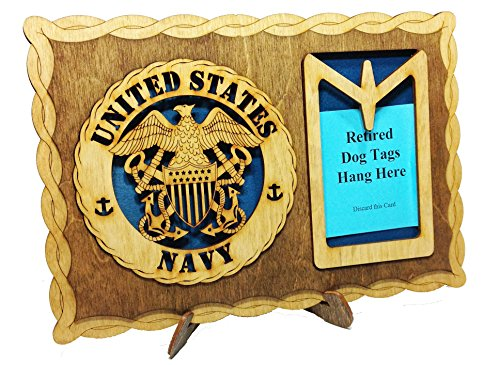 Armed Forces Navy Custom Laser Crafted Three Dimensional Wooden Dog Tag Holder Plaque