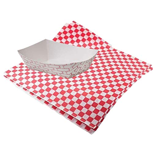 Meal Prep Wrapping Paper Checkered Liner Food Tray Bundle - 25 Count Paper Red Weave Food Trays 12