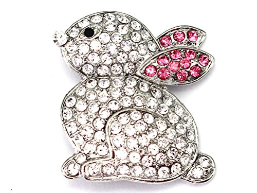 Faship Clear Pink Ears Bunny Rabbit Pin Brooch (Crystal Easter Pin)