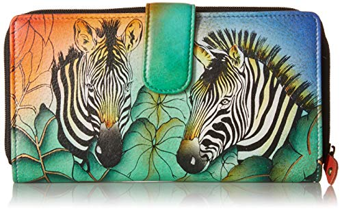 Anna by Anuschka Hand Painted Leather | Two Fold Wallet/Clutch | Zebra Safari ()