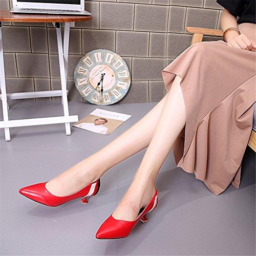 Da Bocca Novità D Americano Superficiale Stile Estate Primavera Artificiale Pu Basse Spillo A Donna Europeo Scarpe Moda Punta Tacco Tacchi Alti pqw1q