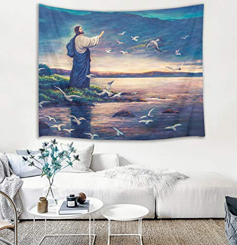 stries Jesus Christ Standing by The River with Seagulls Wall Hanging Religious Tapestries for Bedroom Living Room Dorm Church Wall Decor,60Wx40H inches ()