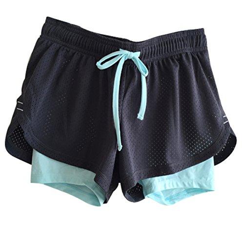 FEILV Active Mesh 2 In 1 Run Sport Shorts For Petites Girls Teens (L, Blue)