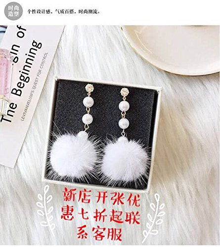 TKHNE autumn and winter girls echocardiography spunk mink ball earrings beaded earrings earrings crystal earrings women girls Night