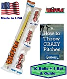 Wiffle Ball and Bat Set Combo with Pitching Guide - 10 Balls 1 Bat and How To Pitch Pamphlet