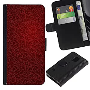 LASTONE PHONE CASE / Lujo Billetera de Cuero Caso del tirón Titular de la tarjeta Flip Carcasa Funda para Samsung Galaxy S5 V SM-G900 / Wallpaper Red Vintage Pattern Dark Art