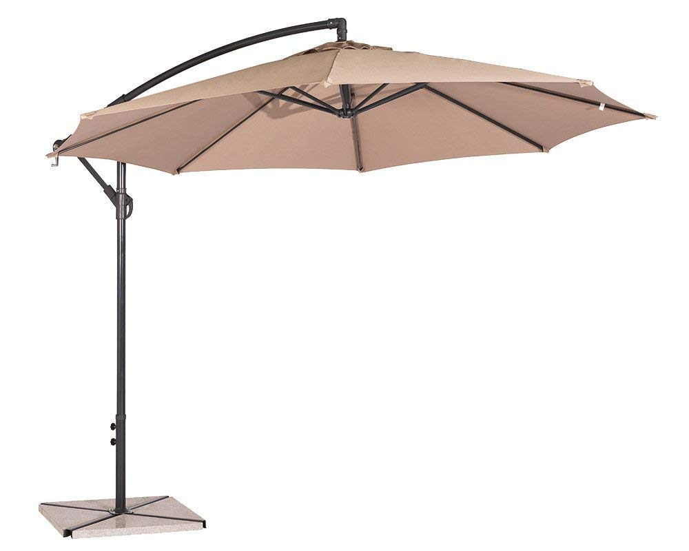 Suncrown 9.5 ft Patio Umbrella Outdoor Market Table Umbrella Offset Hanging Cantilever Umbrella Crank Lift, Cross Base, Beige - POLYESTER UMBRELLA - Durable polyester that can be waterproof and block up to 99% of harmful UV rays, fade resistant, mildew resistant, easy to clean. CONVENIENT CRANK - Convenient crank and cantilever operation system for smooth opening and closing. You can easily adjust the umbrella to any angle of shading, providing you with a full protection from the sun or wind all the time. ALL DAY SHADE - 9.5 ft patio umbrella provides more shading area. Ideal for garden, pool, deck, porch, yard, lawn, backyard, balcony, restaurant, and any other outdoor area. - shades-parasols, patio-furniture, patio - 51jX6rX7j7L -