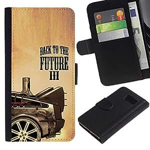 KLONGSHOP / Tirón de la caja Cartera de cuero con ranuras para tarjetas - Future Movie Car Drawing Painting Art Wheel - Samsung Galaxy S6 SM-G920