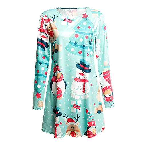 Londony ♥‿♥ Women's Vintage Long Sleeve Christmas Print Flare Dress A-line Floral Party T Shirt Dress -