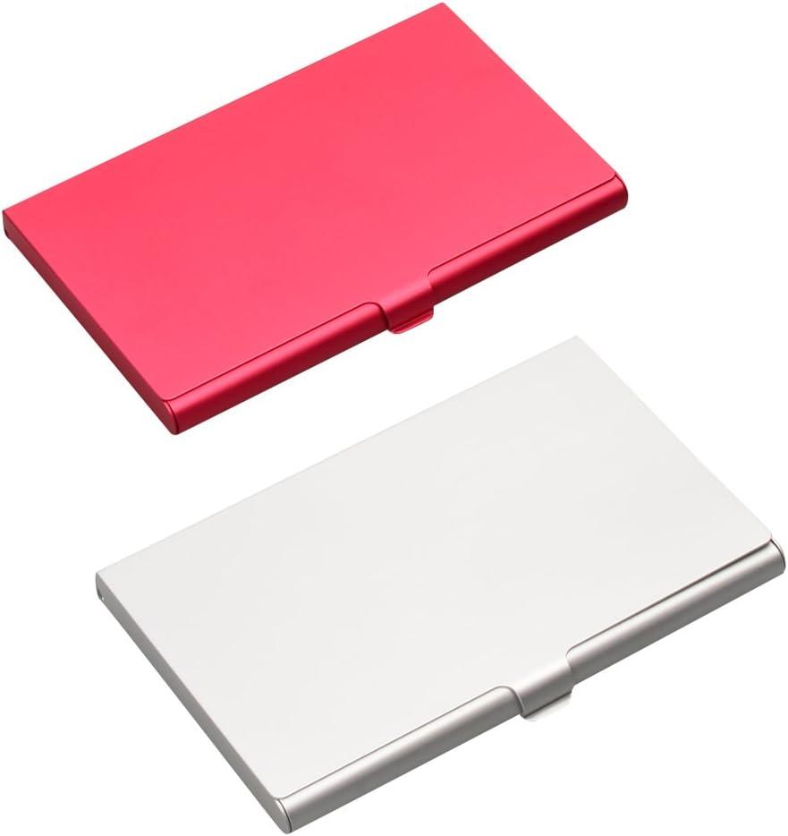 in alluminio porta carte di credito e biglietti da visita professionale ISOTO 2 pezzi Silver+Red custodia sottile in rosso e argento da donna