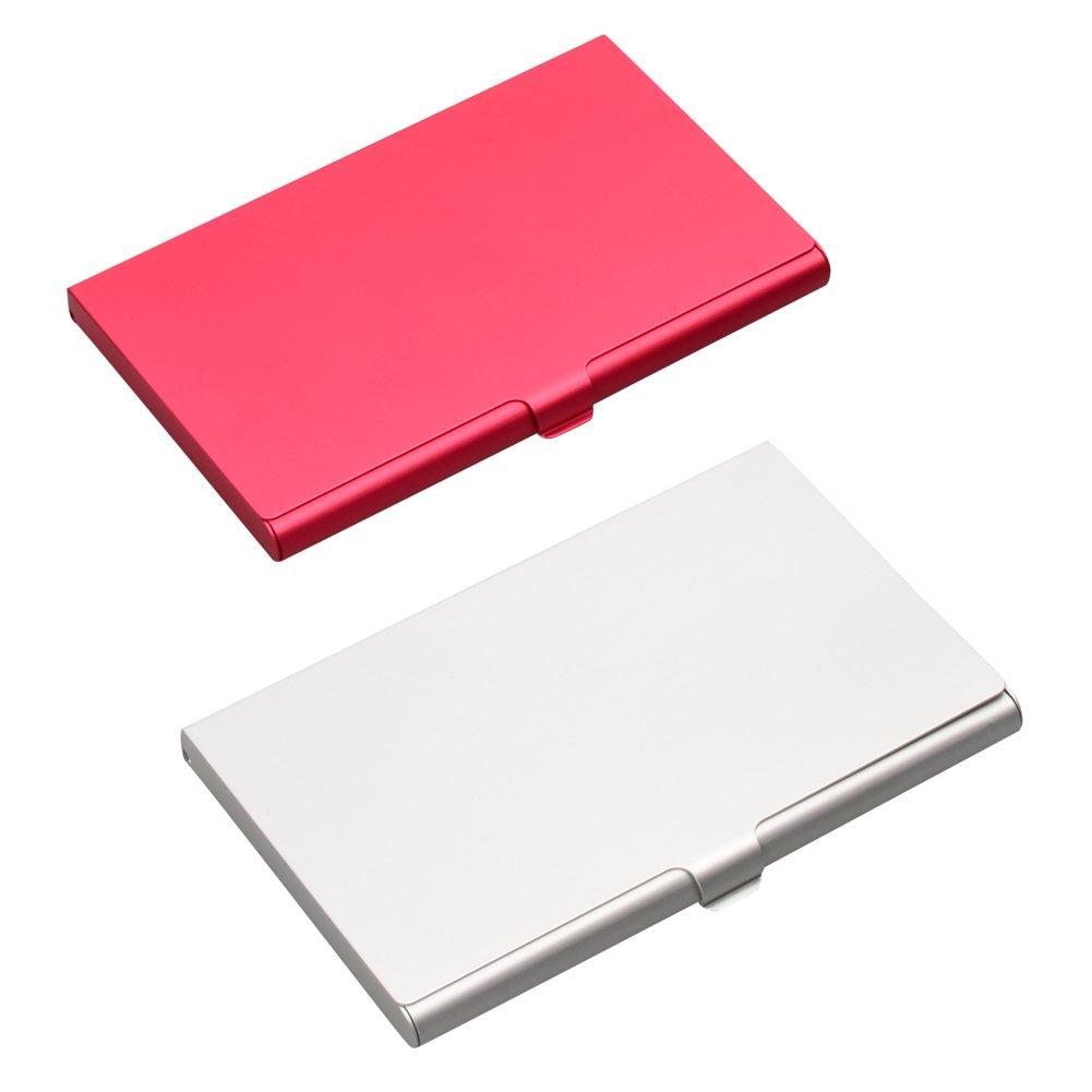 Isoto 2PCS Professional aluminum Business nome carta ID/porta carte di credito custodia slim in rosso e argento da donna Silver+Black