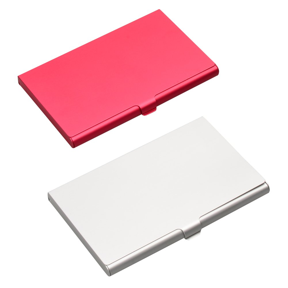 ISOTO 2Pcs Professional Aluminum Business Name Card Holder ID/Credit Cards Holder Case Slim Design Red and Silver Women (Silver+Red)