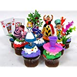 "ALICE IN WONDERLAND 12 Piece Birthday CUPCAKE Topper Set Featuring Alice in Wonderland Figures and Decorative Themed Accessories, Figures Average 2"" to 3"" Inches Tall"