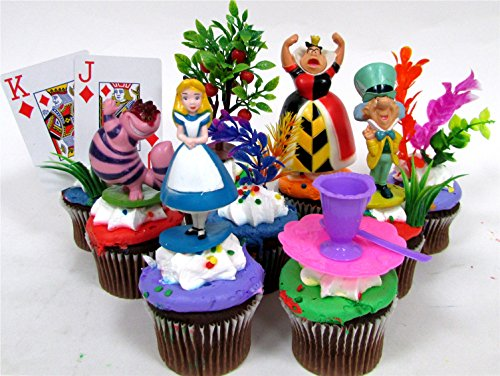 ALICE IN WONDERLAND 12 Piece Birthday CUPCAKE Topper Set Featuring Alice in Wonderland Figures and Decorative Themed Accessories, Figures Average 2