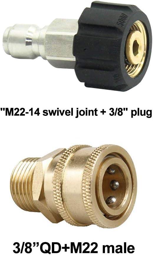 Für Hochdruckreiniger 3//8M22 Messing Schnell Release Adapter Verbinder Kupplung