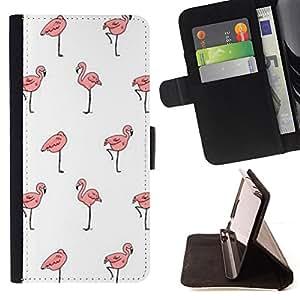 - flamingo white wallpaper clean pink - - Prima caja de la PU billetera de cuero con ranuras para tarjetas, efectivo desmontable correa para l Funny HouseFOR HTC One M7