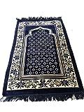 Islamic Luxury Velvet Islamic Prayer Rug Janamaz Sajjadah Muslim Namaz Seccade Turkish Prayer Rug (Dark Blue)