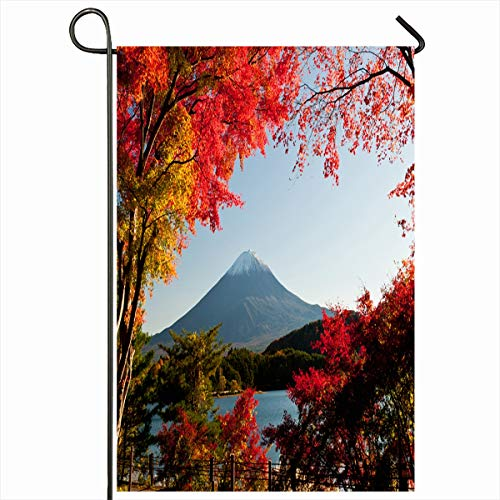 Ahawoso Garden Flag 12x18 Inches Nature Cherry Red Fall Mt Fuji Autumn Mountain Maple Scenery Asia Fujisan Decorative Seasonal Double Sided Home House Outdoor Yard Sign