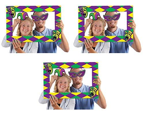 Jester Half Mask - Beistle 52174, 3 Piece Mardi Gras Photo Fun Frames, 15.5
