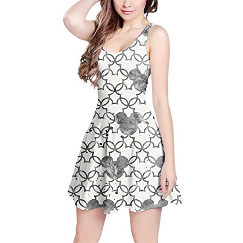 [Mickey Mouse Watercolor Black Sleeveless Dress - 3XL XS-3XL Skater Stretch Flare Dress] (Mickey Dress)