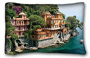 Soft Pillow Case Cover City Custom Cotton & Polyester Soft Rectangle Pillow Case Cover 20x30 inches (One Side) suitable for Queen-bed