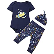 Baby Boys 3PCS Outfit Set Space Ship Romper Long Pants with Hat (3-6 Months)