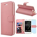 HTC One A9 Case, INNOVAA Premium Leather Wallet Case with STAND Flip Cover W/ Free Screen Protector & Touch Screen Stylus Pen - Light Pink