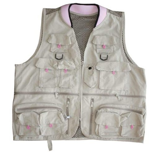Master Sportsman Women's Alpine Fishing Vest (Khaki/Pink, Medium)