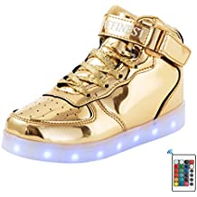 AFFINEST LED Light up Shoes Boys High Top Rechargeable Fashion Flashing Sneakers with Control App Leather Upper Boots for Kids Girls