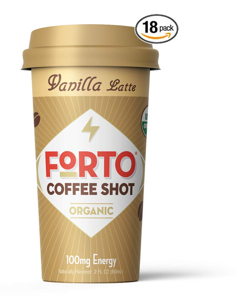 FORTO Coffee Shots - 100mg Caffeine, Vanilla Latte, Colombian cold brew in a ready-to-drink 2-ounce shot for a fast coffee energy boost, 18 Pack