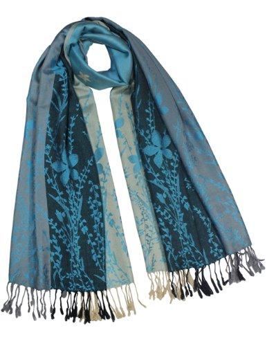 Dahlia Women's Rayon Scarf Shawl - Reversible Triple Panel Wild Flower - Blue