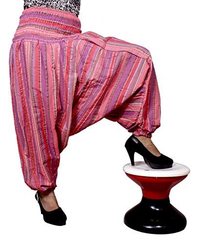 Algodón a Rayas Genie harén pantalones Beggy Gypsy pantalones Yoga tamaño libre Rosso