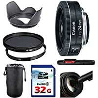 Canon EF-S 24mm f/2.8 STM Lens Bundle + UV Filter + Polarizer Filter + 2 In 1 Lens Cleaning Pen + High Speed 32GB Memory Card + Tulip Hood + Deluxe Lens Case