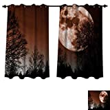 RuppertTextile Moon Bedroom Thermal Blackout Curtains Abstract Color Scheme with Forest Detailed Full Moon Nature Image Scenic Landscape Drapes for Living Room Redwood Black W72 x L84 inch