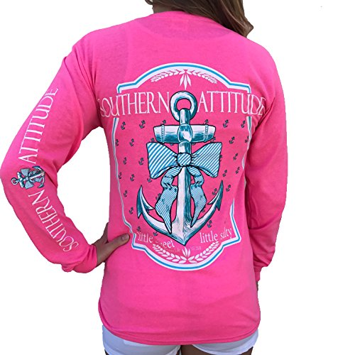 Southern Attitude Bow Anchor Pink Preppy Long Sleeve Shirt (X-Large)