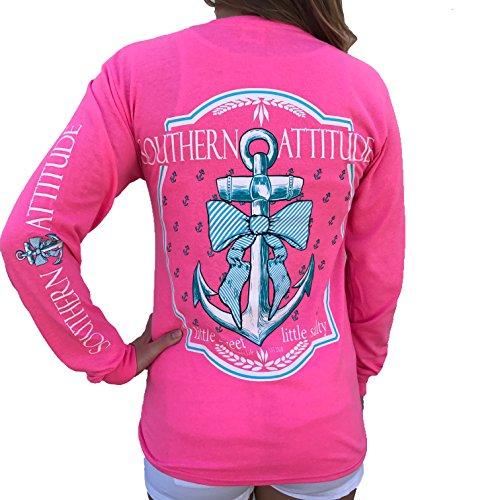 Anchor Long Sleeve T-shirt (Southern Attitude Bow Anchor Pink Preppy Long Sleeve Shirt (X-Large))