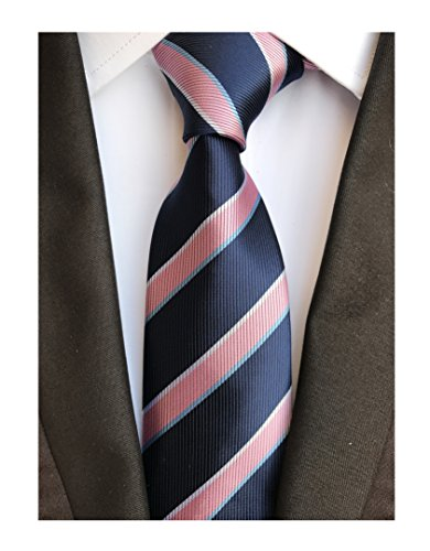c Stripe Jacquard Woven Silk Tie Formal Party Suit Necktie (One Size, Pink Navy) ()