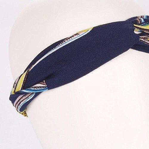 Bandeau Turban Bleu marine et Jaune - Bandeau Cheveux - Bandeau Vintage - Headband