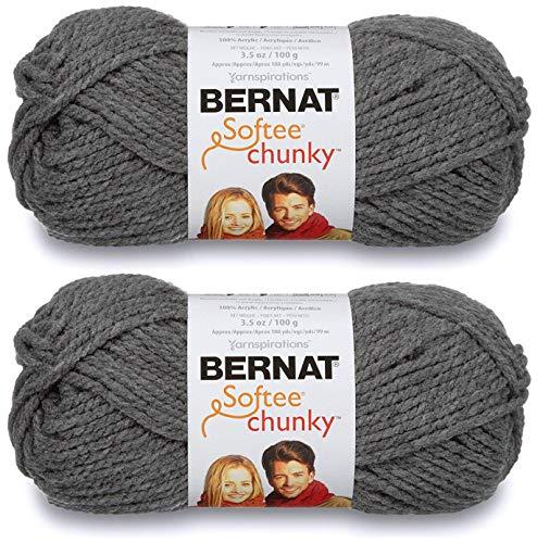 (2-Pack - Bernat Softee Chunky Yarn, True Grey, Single Ball)