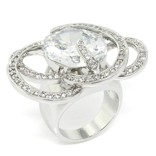 Showy Stylish Cocktail Ring w/White CZs Size 8