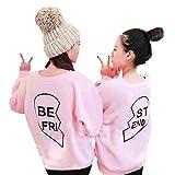 ANBOO Bestie BFF Best Friend BE FRI/ST END Sweatshirt Matching Outfit Sister Sweater (M, Pink BE FRI)