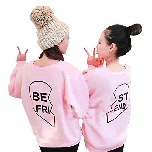 BOKOLI Matching Best Friends T-Shirts Long Sleeve Tees Sweater For Two Girls Friends (S, Pink BE FRI) -