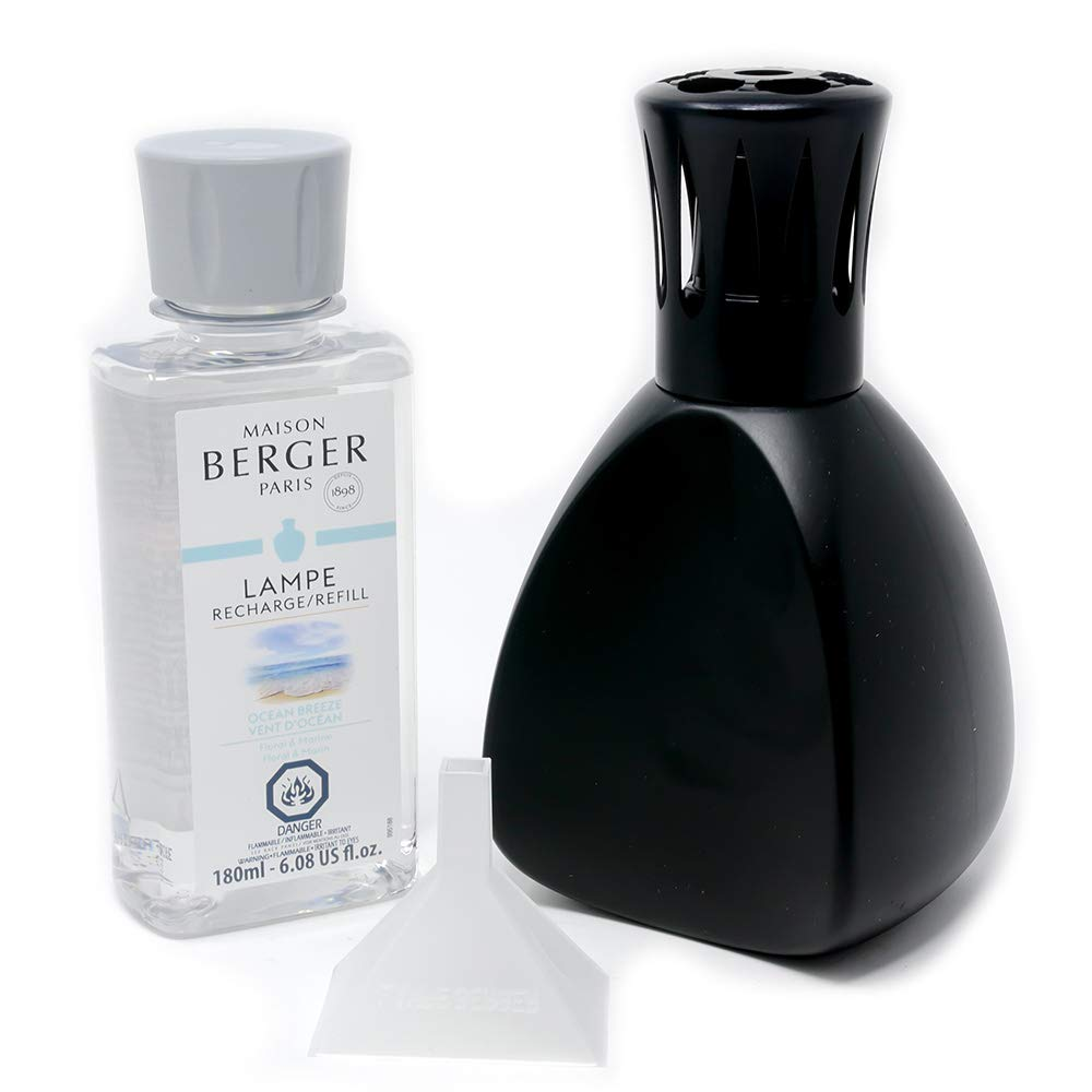 Maison Berger | Lamp Berger Model Curve | Home Fragrance Diffuser | Purifying and Perfuming | 5x3x3.5 inches | Made in France | Includes a 6.08 Fl. oz Fragrance Bottle of Ocean Breeze (Black) by MAISON BERGER (Image #1)
