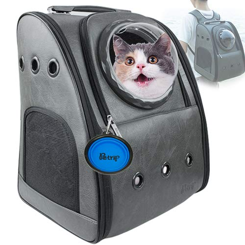 PETRIP Dog Backpack Carrier Cat Backpack for Large Cats 22 lbs Dog Travel Bag Pet Backpack Carrier for Medium Small Dogs Cat Carrier for Hiking Airline Approved Pet Carrier ()