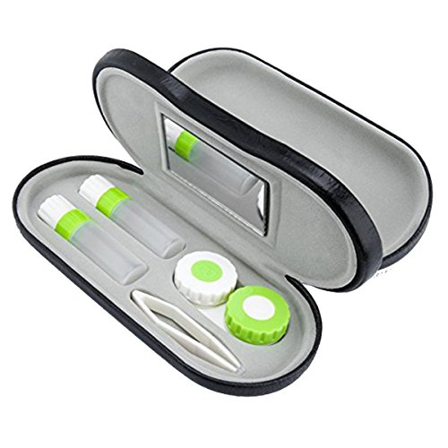 ROSENICE Contact Lenses 2-in-1 Eyeglass and Contact Lens Case Double Use Portable for Home Travel Kit (Black) (Case Travel Kit)