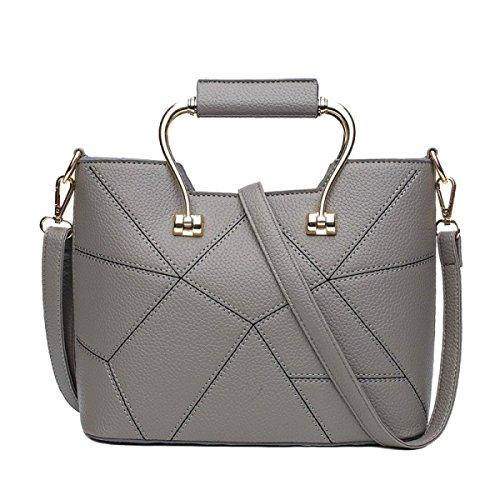 Ms La Moda PU bolsos De Mano Bolso De Hombro Bolsa De Mensajería Grey