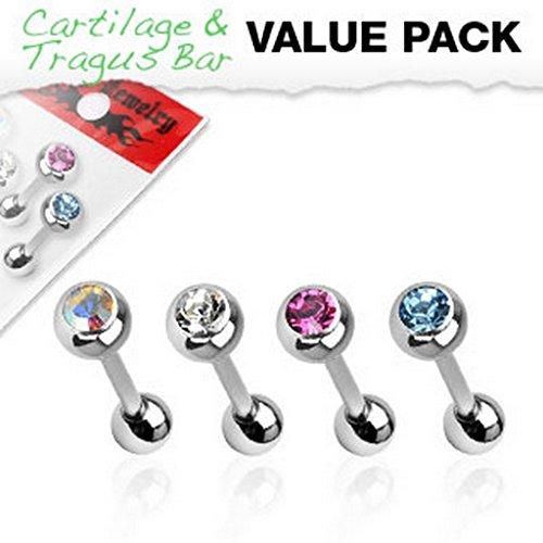 Pack de 4 Piercing tragus cartilage en acier chirurgical 316L Taille: 1,2 mm x 6 mm