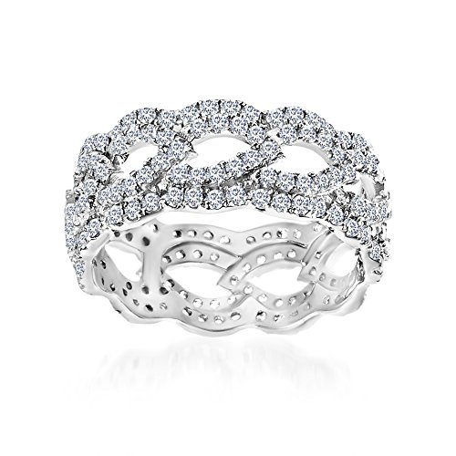 Mia Sarine Cubic Zirconia Open Leaf Design Eternity Band Ring in Rhodium over Sterling Silver Size 7 by MIA SARINE